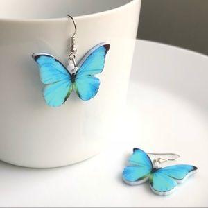 NEW Acrylic Morpho Butterfly Flat Earrings